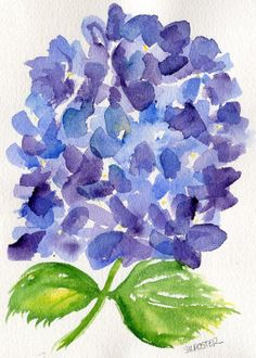 Purple and Blue Hydrangeas watercolor painting original, 5 x 7
