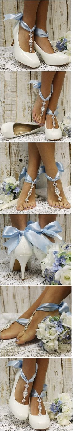 Something blue barefoot sandals ! perfect for heels or go barefoot. Cinderella would be jealous, see more styles at catherinecole.com PIN LIKE FOLLOW enjoy Free USA shipping <3