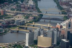 a view of the Allegheny River with downtown on the right and the North Side on the left - 12 Glorious Pictures from High Above Pittsburgh, PA