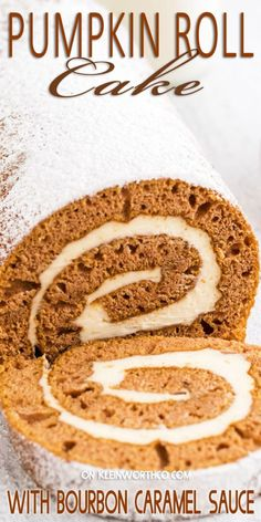 Moist pumpkin cake rolled with bourbon caramel frosting and drizzled with additional bourbon caramel sauce, makes this Pumpkin Roll Cake with Bourbon Caramel Sauce the perfect fall dessert. Pumpkin Roll Cake, Best Pumpkin Pie, Pumpkin Cake Recipes, Pumpkin Dessert, Holiday Desserts, Holiday Baking, Holiday Meals, Holiday Recipes, Best Dessert Recipes