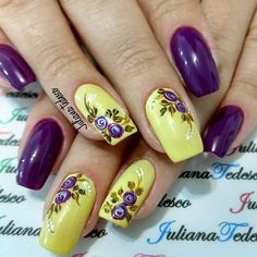 uñas amarillas y moradas flores vintage moradas Purple Nail Art, Purple Nail Designs, Pretty Nail Art, Colorful Nail Designs, Yellow Nails, Acrylic Nail Designs, Pink Nails, Nail Art Designs, Pedicure Nails