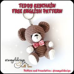 Crochet Teddy, Crochet Dolls, Amigurumi Patterns, Crochet Patterns, Teddy Bear Patterns Free, Crochet Keychain Pattern, Bobble Stitch, Free Pattern, Knitting