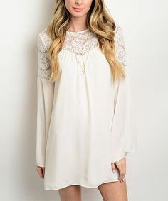 Loving this Forever Lily White Lace-Detail Shift Dress on #zulily! #zulilyfinds