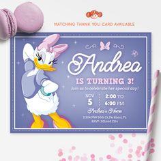 DAISY DUCK INVITATION, Daisy Ducks, Printable Kids Invitation, Birthday Party Invitation, Red Head Invites
