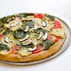 main entree pasta recipe : Pesto Cashew Ricotta Pizza