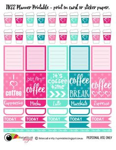 FREE Printable Planner Stickers - Coffee.  Print these planner elements onto sticker paper or just card stock, cut carefully with scissors and fill up your planner with coffee dates.: