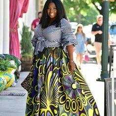 Blouse and skirt | @thatssewmonica  Photo Cred | @feesewcrafty #ankara #gingham . .  #thatssewmonica #projectsew #planoasgsews #ankara #africafashion #ankara #gingham