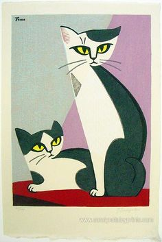 Cat sisters on a diagonal | woodcut print | Inagaki Tomoo