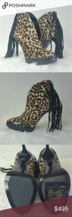 BURBERRY PRORSUM Nadie booties SAVE $700 (59%)  Leopard print pony hair ankle boots from the Fall/ Winter 2015 Runway Collection. Draw attention with the swinging black suede fringe at counter. V-front slit. Glossy black stiletto high heel. Stack platform. Round toe. Zipper closure at back. Leather insole. Leather and synthetic outsole. Comes with box, dust bag, and extra heel taps. Size 37. Made in Italy.  Brand new. Never worn. Can provide more pictures and info upon request. Make a…
