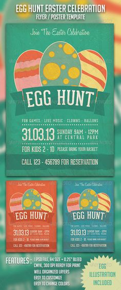 Egg Hunt Easter Celebration is a flyer/poster print template created for easter party or celebration with classic/vintage style. $6