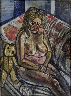 Jean on Sofa (Jean with Teddy Bear) - John Bratby John Bratby, English Artists, Everyday Objects, Modern Art, Teddy Bear, Aqa, Fantasy, Kitchen Sink, Gallery