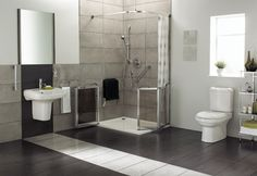 modern black and white rubber flooring for bathroom with square design Disabled Bathroom, Handicap Bathroom, Small Bathroom, Modern Bathrooms, Master Bathrooms, Amazing Bathrooms, Half Wall Shower, Mickey Bathroom, Shower Wheelchair