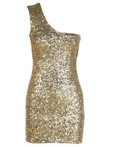 Gold Sequin One Shoulder Black Bodycon Dress  £24.95