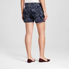 Women's 5 Printed Chino Shorts - Merona Navy Floral 16, Blue