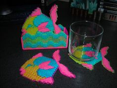 Neon Fish Coasters by CunninghamCrafts on Etsy, $5.00