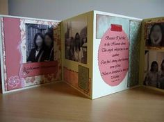 An accordion card I made for my mother. The idea came from a similar card displayed on Scrapbooker's Paradise.