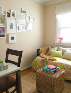 many white photo frames to fill a large space