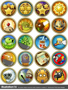 The whole achievement badges From ios gamecenter Plants vs Zombies 2 ACHIEVEMENT Zombie Birthday Parties, Zombie Party, P Vs Z, Plants Vs Zombies 2, Pumpkin Coloring Pages, Diy For Kids, Game Art, Badge, Art Projects
