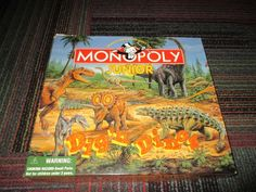 RETIRED 1998 MONOPOLY JUNIOR DIG 'N DINOS BOARD GAME COMPLETE, AGES 5-8, GUC #ParkerBrothers