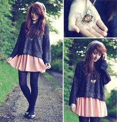 Bershka Jumper, American Apparel Skirt, Oasap Amber Butterfly Necklace, River Island Shoes, River Island Beret