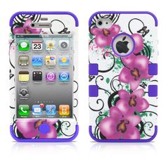 iPhone 4S Case, MagicMobile Hybrid Impact Shockproof Cover Hard Armor Shell and Soft Skin Layer [Dark Pink Flowers Pattern - Silicone Color Purple] with screen protector and stylus. MagicMobile Hybrid Impact Design Case for iPhone 4, iPhone 4s, iPhone 4th Generation. Top and bottom borders are high preventing scratches and shocks to your iPhone 4 4s. Easy install and to remove from the iPhone 4s. Product is made with high quality materials giving full protection against scratches and…