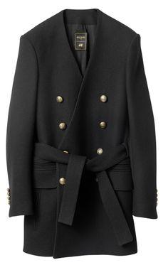 Balmain for H M Exclusive Black Smart Casual Buttons Mens Belted Coat Jacket Balmain Collection, Men's Collection, Black Smart Casual, H&m Collaboration, Blazers, H&m Jackets, Belted Coat, Lookbook, Stylish Men
