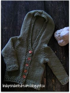 Newborn Baby Boy Or Girl Cotton Blend Hand Knit Moss Green Hooded Cardigan Sweater Size 0 to 3 Months