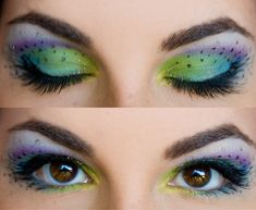 Colorful peacock eye makeup