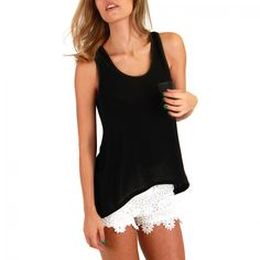 Black Tank Top-GUESS - Shirts and Blouses - Women