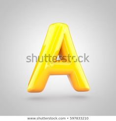 glossy yellow paint letter a uppercase 3d render of bubble twisted font with glint and ring light reflection isolated on white background