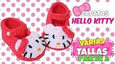 zapatitos de hello kitty tejidos a crocher parte 2 de 2 - YouTube
