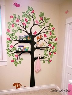 Shelving Tree with Birds and Squirrels Wall Decal