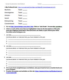 Worksheets Career Exploration Worksheets career exploration activity using the clusters activities inspired counselor upper elementary unit webquest with links to worksheet websites and powerpo
