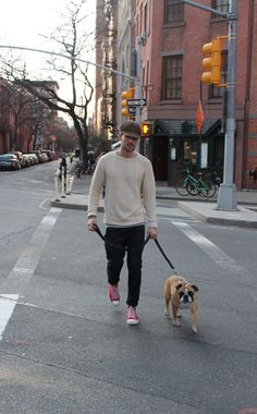 Walking the dog sweater jeans