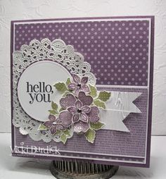 It's a Stamp Thing - flower shop, petite petals - perfect plum,pear pizzazz - flags embossed with woodgrain embossing folder; rhinestone in center of flowers