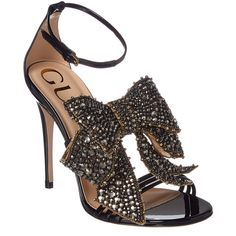 Gucci Crystal Embellished Patent Sandal (€1.260) ❤ liked on Polyvore featuring shoes, sandals, heels, scarpe, black, heeled sandals, gucci sandals, black heeled shoes, gucci shoes and black elastic sandals