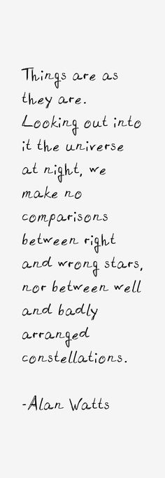 Things are as they are. Looking out into the universe at night, we make no comparisons between right and wrong stars, nor between well and badly arranged constellations.