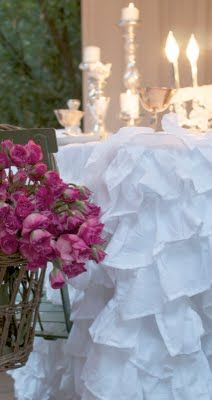 """""""ruffles, roses & candlelight closeup of the frilly tablecloth using Overstock bedskirts.""""  dark pink roses"""