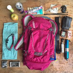 CamelBak Ambassador Jill Kintner shared with us what she carries in her CamelBak L.U.X.E. pack -- in addition to water, of course -- for longer rides:  Garmin Edge 500 Maxxis Welter Weight tube Oakley Radar Lock glasses Crankbrothers multi tool and a Lezyne mini tool Co2 Pump Patch kit Zip ties Red Bull Nuun electrolytes   Snacks (Clif Bar, apple, etc.) Merino wool buff $20  ID Keys Knife