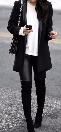classic workwear black and white outfit