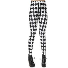 Black and White Jester Leggings ($23) ❤ liked on Polyvore featuring pants, leggings, black white pants, black white leggings, white and black pants, black and white pants and black and white leggings