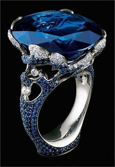 A Gorgeous Sapphire and Diamond Ring from a blog on jewellery and watches... 'beautyblingjewelry.tumblr.com' ♥≻★≺♥