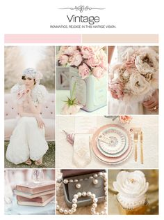 Vintage wedding inspiration board, color palette, mood board. Light pink and champagne colors. I love the table setting and if only a few people come to my reception, then it won't cost. Fortune
