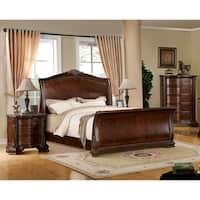 Shop for Furniture of America Eliandre Baroque Brown Cherry Sleigh Bed with Nightstand Set. Get free delivery On EVERYTHING* Overstock - Your Online Furniture Shop! Get in rewards with Club O! Sleigh Bed Frame, Sleigh Bedroom Set, Bedroom Furniture Stores, Furniture Decor, Furniture Outlet, Online Furniture, Cherry Furniture, Furniture Websites, Gardening