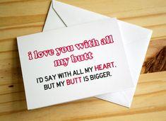 Big Butt - Funny, Sexy, Sassy Anniversary | Valentine's Day | Greeting Card on Etsy, $4.00