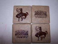 Bronc Buster Tile Coaster Set by renointx - Cards and Paper Crafts at Splitcoaststampers