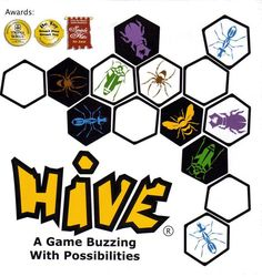 From the Publisher:  Hive is a highly addictive strategic game for two players that is not restricted by a board and can be played anywhere on any flat surface. Hive is made up of twenty two pieces, eleven black and eleven white, resembling a variety of creatures each with a unique way of moving.  With no setting up to do, the game begins when the first piece is placed down. As the subsequent pieces are placed this forms a pattern that becomes the playing surface (the pieces themselves…