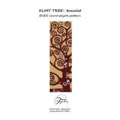 peyote pattern Klimt tree of life bracelet por tipikabeadwork