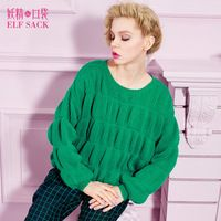 ELF SACK fashion brand new arrival 2015 spring women loose puff design sweet pullover sweater pure color O-neck free shipping