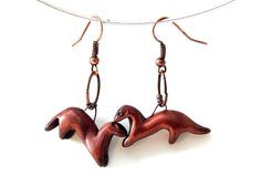 Valentine's Day Gift Ferret Pair Small Dangle Earrings in Polymer Clay